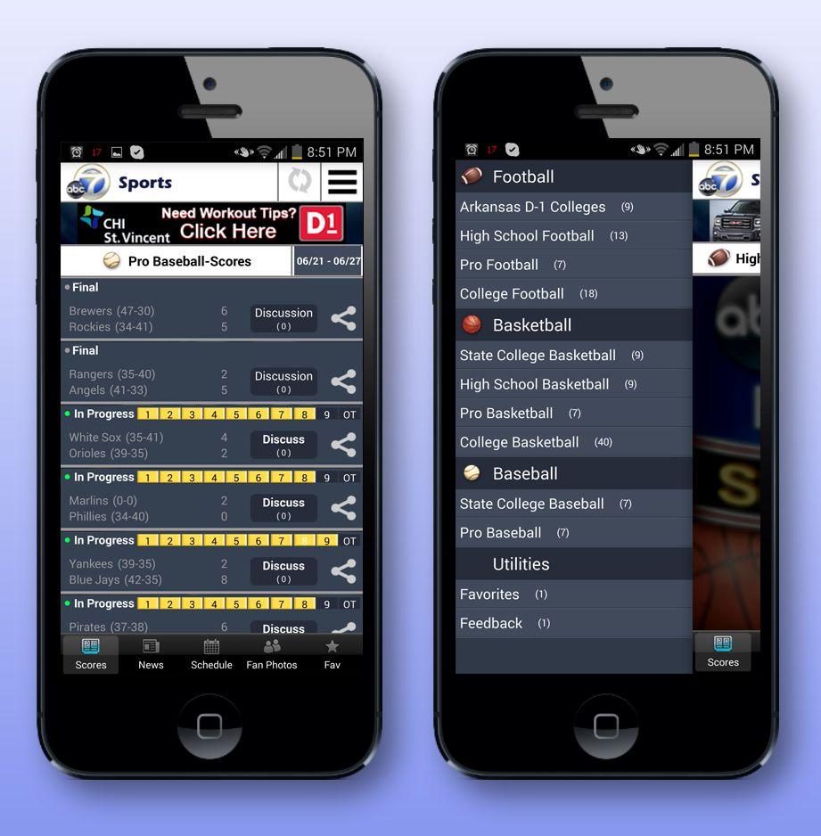 Gameday Matchup app in phones