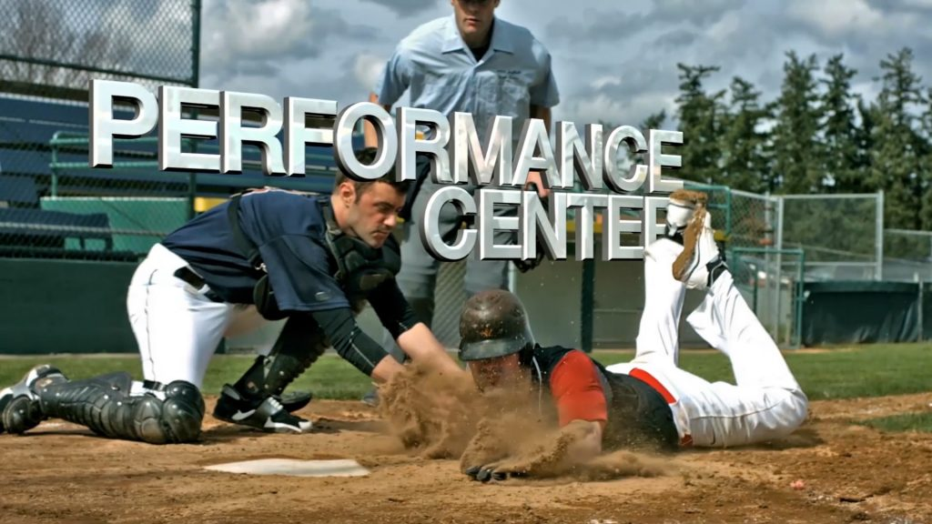 The words 'Performance Center' worked into a shot of a player sliding into home plate