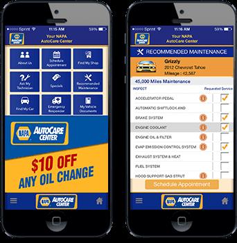NAPA AutoCare App screens in phones