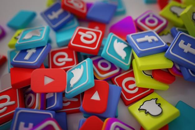 a pile of social media icon tiles