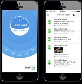 Schoolcast app screens in phones