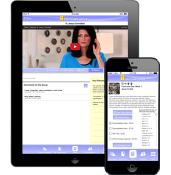 Unveiling Jesus app in a phone and a tablet