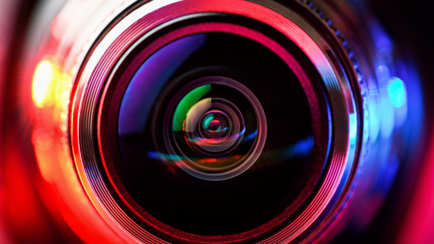 Camera lens with red and blue backlight. macro photography lenses
