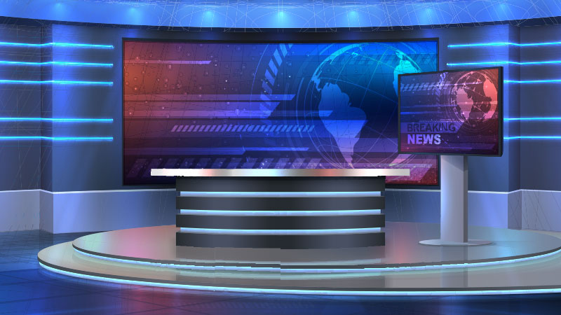Virtual news room set