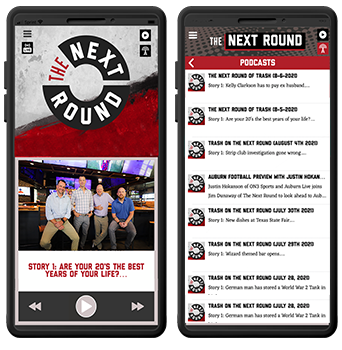 The Next Round Mobile App in a phone